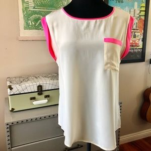 PIM + LARKIN Silk Contrast Blouse/Top Size MED